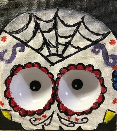 How to create a drawing or painting. Haunted Sugar Skull Picture  - Step 4