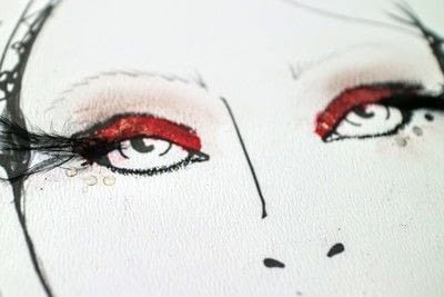 How to create a red eye makeup look. Moulin Rouge Make Up - Step 9