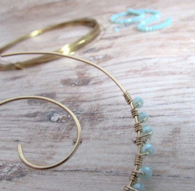 How to make a hoop earring. Embellished Wire Spiral Hoop Earrings - Step 7