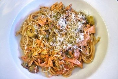 How to cook a spaghetti dish. Rose Spaghetti With Bacon, Anchovies & Pesto - Step 7