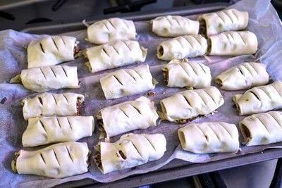 How to cook a sausage roll. Mustard & Cheese Sausage Rolls - Step 4