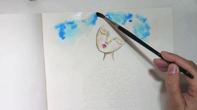 How to paint a piece of watercolor art. Watercolour & Modeling Paste Painting - Step 5