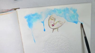 How to paint a piece of watercolor art. Watercolour & Modeling Paste Painting - Step 6
