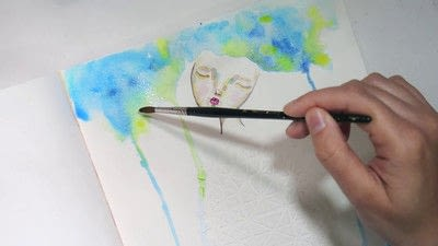 How to paint a piece of watercolor art. Watercolour & Modeling Paste Painting - Step 7
