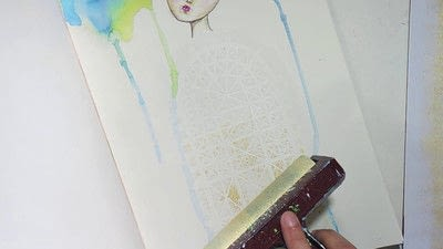 How to paint a piece of watercolor art. Watercolour & Modeling Paste Painting - Step 8