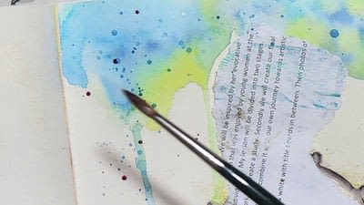 How to paint a piece of watercolor art. Watercolour & Modeling Paste Painting - Step 9