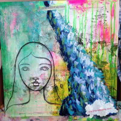 How to make a mixed media. Introduction & Verse   Mixed Media Painting - Step 6