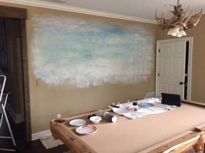 How to paint a landscape. Rustic Pond Mural - Step 1
