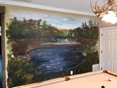 How to paint a landscape. Rustic Pond Mural - Step 4
