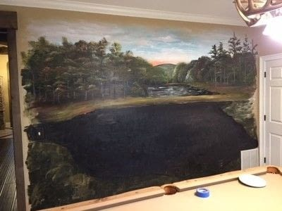 How to paint a landscape. Rustic Pond Mural - Step 5