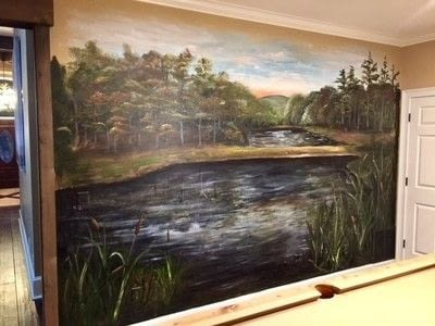 How to paint a landscape. Rustic Pond Mural - Step 7