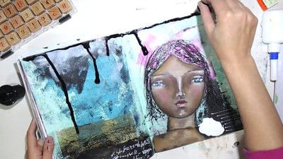 How to make a mixed media. Raw Art Journaling Tutorial - Step 10