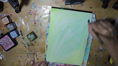 How to paint a piece of watercolor art. Watercolour Effect Stamping Technique - Step 3