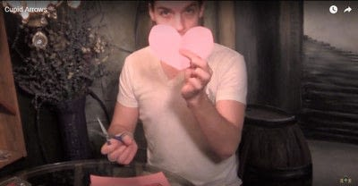 How to make a piece of paper art. Cupid's Magnetic Darts - Step 7
