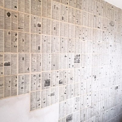How to make wallpaper / a wall painting. Decoupage A Wall With Vintage Book Pages - Step 5