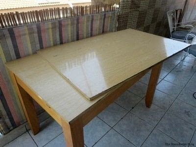 How to make a painted table. Upcycling An Old Laminate Table With Gel Stain - Step 1