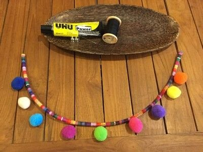 How to make a pom pom necklace. Pom Pom Cord Necklace - Step 2