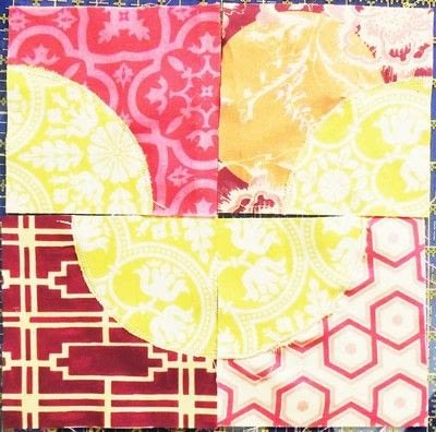How to make a patchwork quilt. Drunken Chevron Quilt Block - Step 7