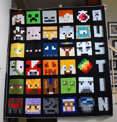 How to make a patchwork quilt. Minecraft Creeper Quilt Block - Step 4