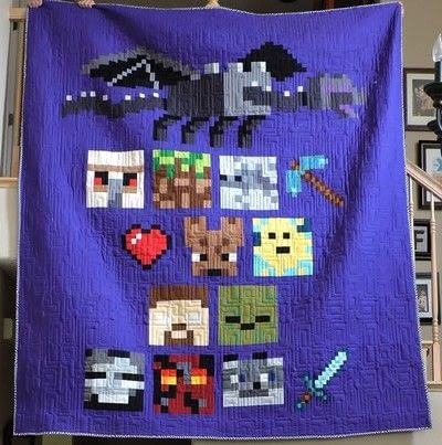 How to make a patchwork quilt. Minecraft Creeper Quilt Block - Step 5
