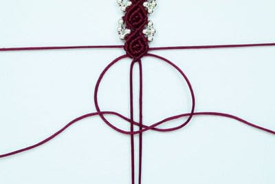 How to braid a braided bead bracelet. Rosebud Macrame Bracelet - Step 21