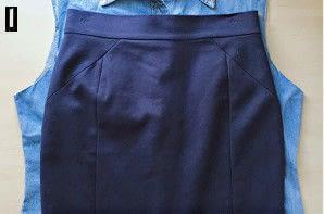How to make a pencil skirt. Denim Shirt To Skirt Refashion - Step 1