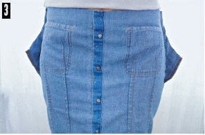 How to make a pencil skirt. Denim Shirt To Skirt Refashion - Step 3