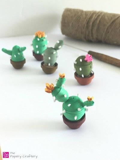 How to make a paper model. Quilling Paper Cactus - Step 10