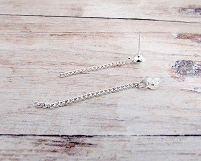 How to make a dangle earring. Double Chain Drop Stud Earrings - Step 4