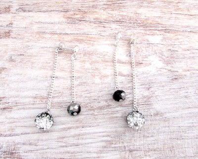 How to make a dangle earring. Double Chain Drop Stud Earrings - Step 5