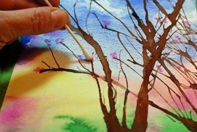 How to paint a piece of watercolor art. Painting Spring Trees - Step 4