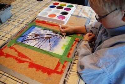 How to paint a piece of watercolor art. Painting Spring Trees - Step 5