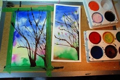 How to paint a piece of watercolor art. Painting Spring Trees - Step 6