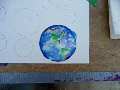 How to paint a piece of watercolor art. Big Blue Marble - Step 5