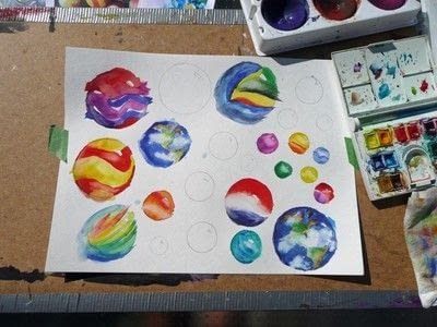 How to paint a piece of watercolor art. Big Blue Marble - Step 6