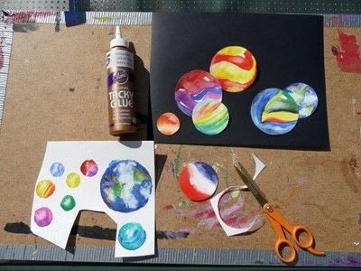 How to paint a piece of watercolor art. Big Blue Marble - Step 7