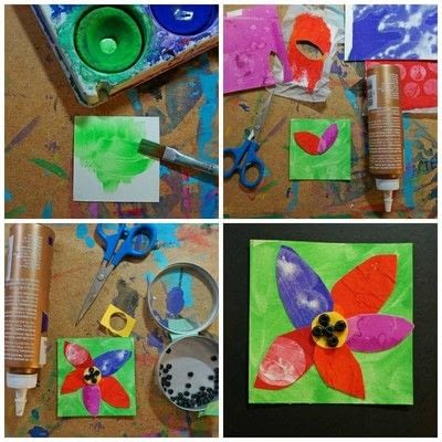 How to make an artist trading card. Flower Inchies - Step 2