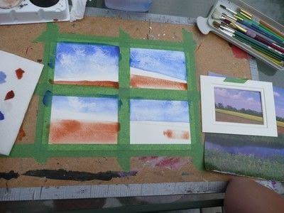 How to create a drawing or painting. Mini Landscapes - Step 6