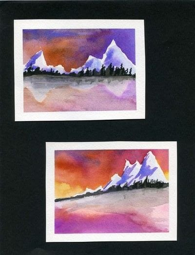 How to create a drawing or painting. Mini Landscapes - Step 9