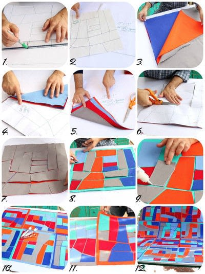 How to make a patchwork quilt. No Sew Quilt - Step 2