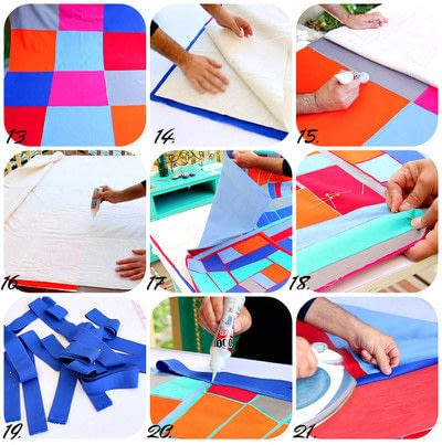 How to make a patchwork quilt. No Sew Quilt - Step 3