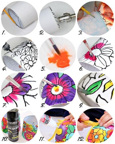 How to make a lamp / lampshade. Painted Floral Lampshades - Step 2