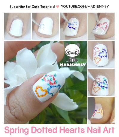 How to paint seasonal nail art. Spring Dotted Hearts Nail Art - Step 1