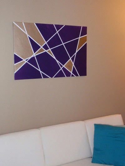 How to paint a stencilled painting. Geometric Wall Art Diy - Step 4