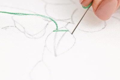 How to stitch . Leaf Stitch - Step 3