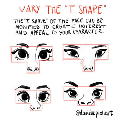 How to draw & paint a piece of character art. Vary The T Shape - Step 1