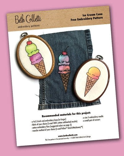 How to embroider . Embroidered & Painted Ice Cream Cone - Step 1