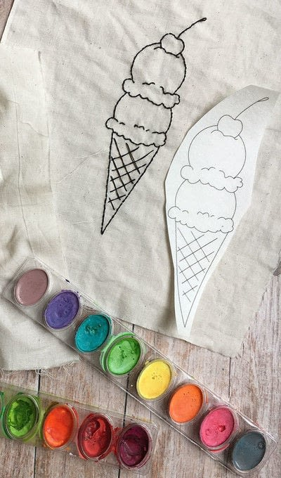 How to embroider . Embroidered & Painted Ice Cream Cone - Step 3