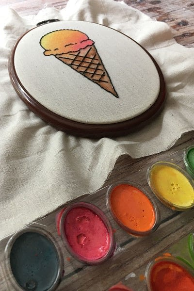 How to embroider . Embroidered & Painted Ice Cream Cone - Step 4