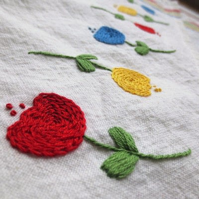 How to make a tea towel. Embroidered Tulip Tea Towel - Step 5